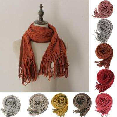 Fashion Women's Solid Knit Hollow Out Mohair Long Scarves Dot Pom Pom Tassel New