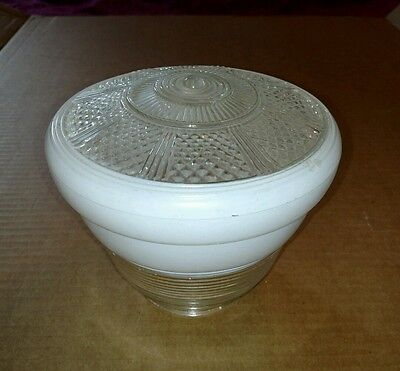 Vintage 60s Kitchen Ceiling Light Clear Glass & White w/ Diamond Shade Globe