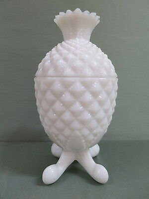 Victorian Milk Glass Bowl with Lid. Pineapple Shape. Very Rare.