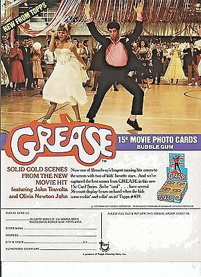 1978 Grease 1 Sell Sheet For Trading Cards