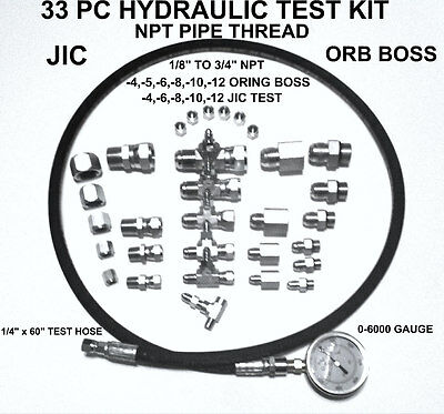 "Hydraulic 33 PC Fast Test Kit 1/8"" TO 3/4 NPT JIC & ORB Tractor Forklift Tester"