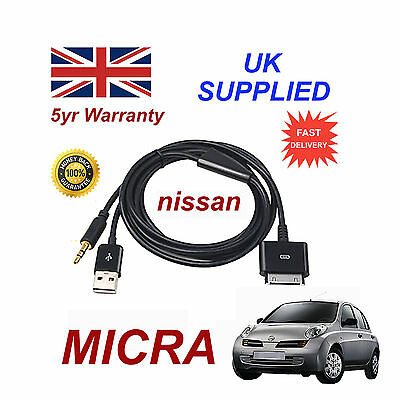 For Nissan MICRA iPhone iPod USB & Câble Aux rechange (Noir)