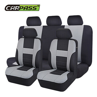 Universal Car Seat Cover Set(12 pieces) Black Grey Steering Wheel Covers Airbag