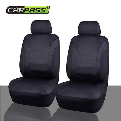 Universal Two Front NEOPRENE Black Car Seat Covers Set Airbag Fit waterproof Set
