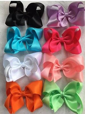 "Lot Of 8 Large 4"" Satin Boutique Hair Bow clips Ladies, Girls, Infant Pink Ivory"
