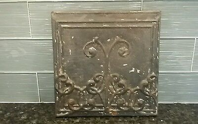 Antique Victorian Tin Ceiling Tile Panel Old Vintage Metal - MOUNTED FOR WALL