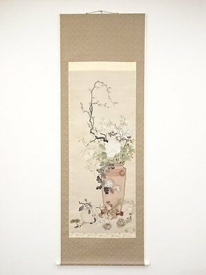 2555059: Japanese Paintings & Calligraphy / Wall Scroll / Hand Painted / Flower