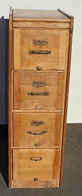 1900's Oak 4 Drawer Filing Cabinet with metal handles and label plate. No Key