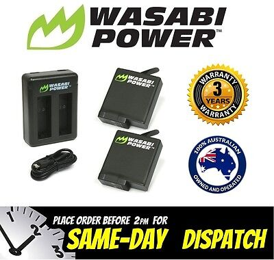 Wasabi Power Battery for GoPro HERO 5 (1220mAh) x 2 with Dual USB Charger Go Pro