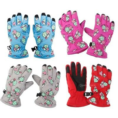 1Pair Kids Boys Girls Outdoor Winter Thermal Fleece Ski Snowboard Mittens Gloves