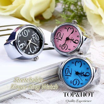 Creative Fashion Steel Round Elastic Quartz Finger Ring Watch Lady Girl Gift ZY