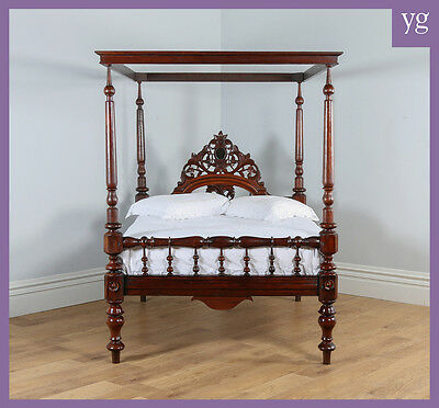 """Antique 4ft 6"""" Victorian Anglo Indian Colonial Raj Teak Double Four Poster Bed"""