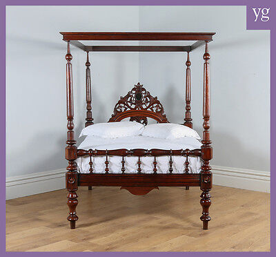"Antique 4ft 6"" Victorian Anglo Indian Colonial Raj Teak Double Four Poster Bed"