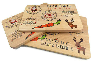 Christmas Eve Treat Board - Wooden Santa Plate Platter Mat - Father Christmas