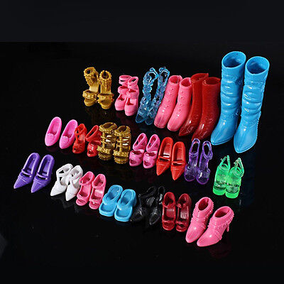 Fashion Mix 24pcs/12Pairs Shoes Boots Barbie Doll Girls Play House Party Random