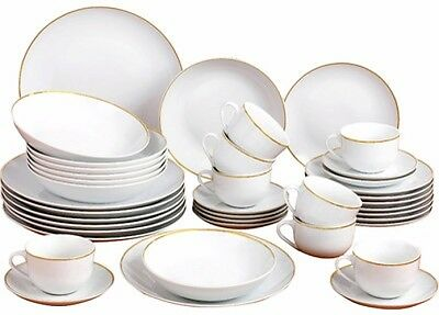 Porcelain Dinnerware Set Plates Dishes Bowls Gold Band Home Party Occasions 40Pc