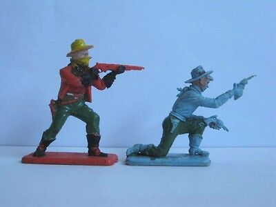 2 x CRESCENT.  WILD WEST COWBOYS. 1960's PLASTIC TOY SOLDIER .. 1/32 SCALE.