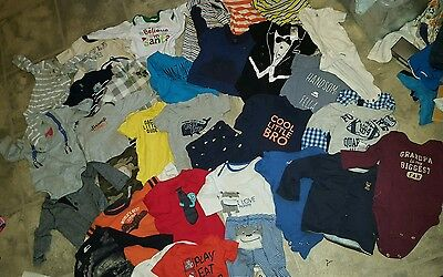 Lot of 32 6 months baby boy clothes outfits onsies shirts winter clothes hoodies