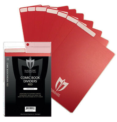 Pack of 25 Max Pro Red Plastic Comic Book Dividers with Folding Write On Tab