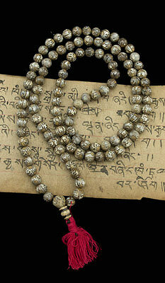 MALA TIBETAIN PERLES DE COQUILLAGE OM MANI PADME HUM STYLE NEPAL 8.5 mm -1922