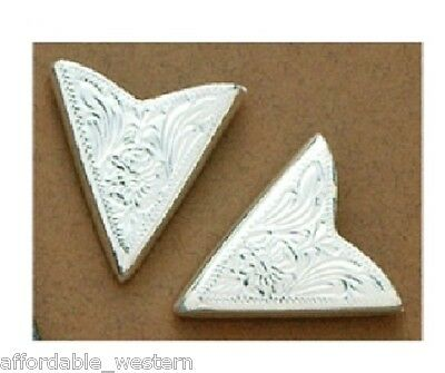 Engraved Silver ~COLLAR TIPS~ Western, Cowboy, Square Dance, Shirt- NEW 2 pc Set