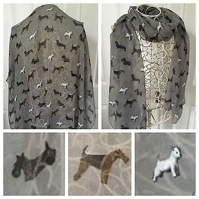 Scottie  Westie Sausage Dogs Scarf  Mixed Breeds Grey New Design Lovely Gift