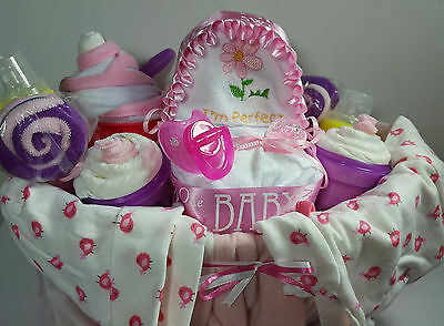 Baby Shower Party Pink Gift Basket For Girls - 39 items including Gerber Baby