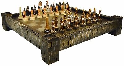 "EGYPTIAN ANUBIS Chess Set  W/ 17"" CASTLE FORTRESS Board EGYPT"