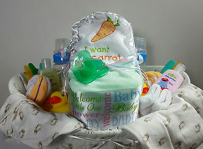Baby Shower Party Gift Basket For Neutral - 37 items including Gerber Baby Items