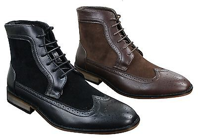Mens Chelsea Brouge Ankle Boots Leather Suede Italian Smart Casual Laced Retro