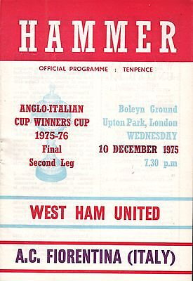 1975/76 West Ham v Fiorentina, Anglo Italian Cup Winners Cup, PERFECT