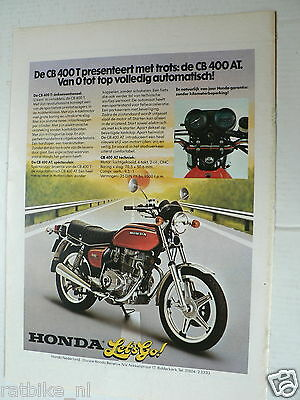 A010-Honda Cb400T/cb400At Motorcycle Advertisement 1978 Colour Let's Go