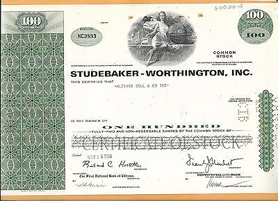 Studebaker Worthington Inc 100 Shares  Vintage Stock Certificate 1968