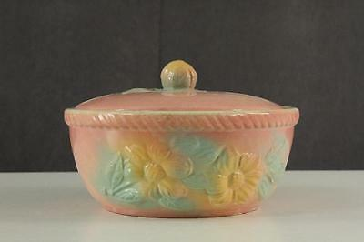 Vintage Hull Art Pottery SUN GLOW PINK 1.25 QT Round Covered Casserole Bowl