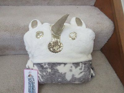 Justice Cozy Hooded Sequin Unicorn Wearable Horn Blanket Gray Gold White New NWT