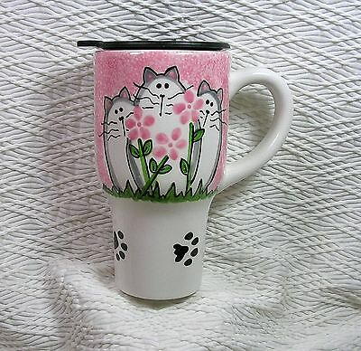 Pink Cats & Flowers Travel Mug Handmade Ceramic Original by Grace M. Smith