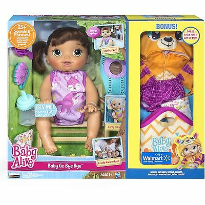 Baby Alive Baby Go Bye Bye BRUNETTE w/ BONUS OUTFIT TIGER SUIT DIAPER BAG NEW