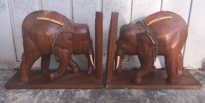 "Pair of Vintage WOOD Wooden ELEPHANT Safari BOOKENDS Book Ends 7"" Tall"