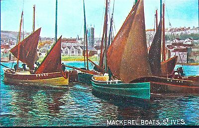 Postcard:st Ives Harbour-Mackeral Boats.early Card.publisher:hildesheimer