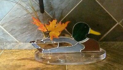 Stained Glass Mallard Duck With one inch Thick acrylic Stand