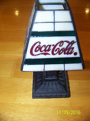 """Coca Cola 8"""" Stained Glass Tealight Lamp Coke Collectible Tiffany Style"""