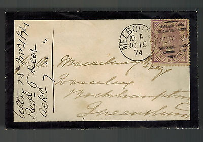 1874 Melbourne Australia Mourning Mini Cover to Rockhampton