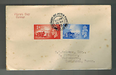 1948 Guernsey Channel Island first day cover fdc  Liberation England Tavistock