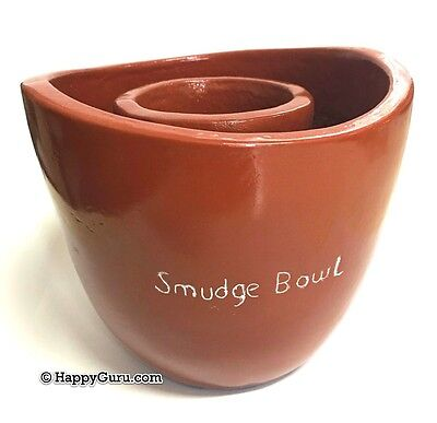 """""""smudge Bowl"""" Large Clay Smudge Stick Holder"""