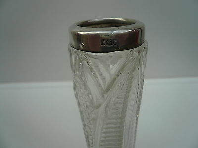 Silver Bud Vase, Sterling, Cut Glass, English, Antique, Hallmarked 1904.