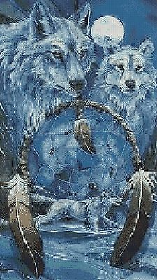 WOLVES AND THE DREAMCATCHER # 1 - CROSS STITCH CHART ((Animals/ Insects)wolves