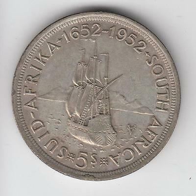 1952 South Africa 5 Shillings Silver Crown Bu Capetown Founding / Ship #04