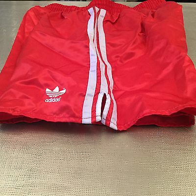 Amazing Shiny Vintage Bright Red Adidas Sprinter Shorts Medium D6