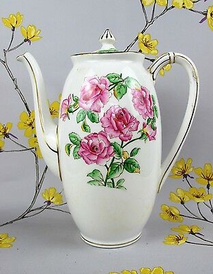 Vintage Royal Adderley Ware COFFEE POT TEAPOT. Pink roses, hand painted.