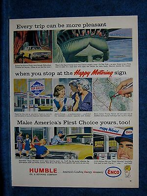 1963 Humble Oil  Enco Ad ~ Vacation Trips  - Typical 60s Service Station Shown